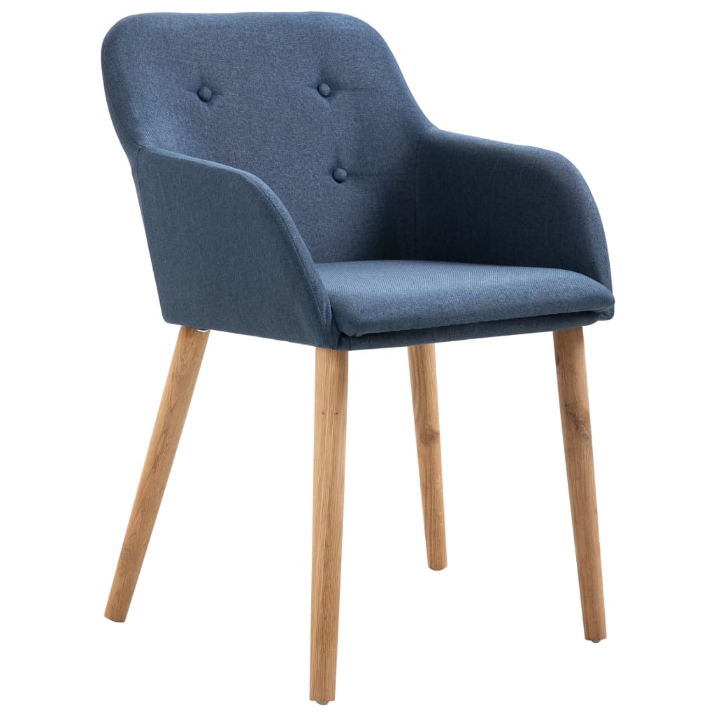 Dining Chairs 2 pcs Blue Fabric and Solid Oak Wood 2