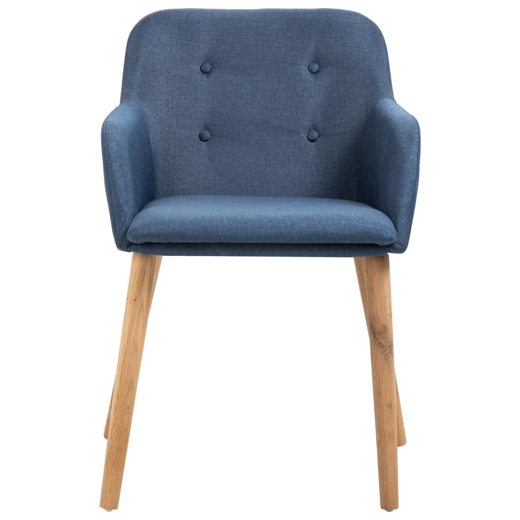 Dining Chairs 2 pcs Blue Fabric and Solid Oak Wood 3