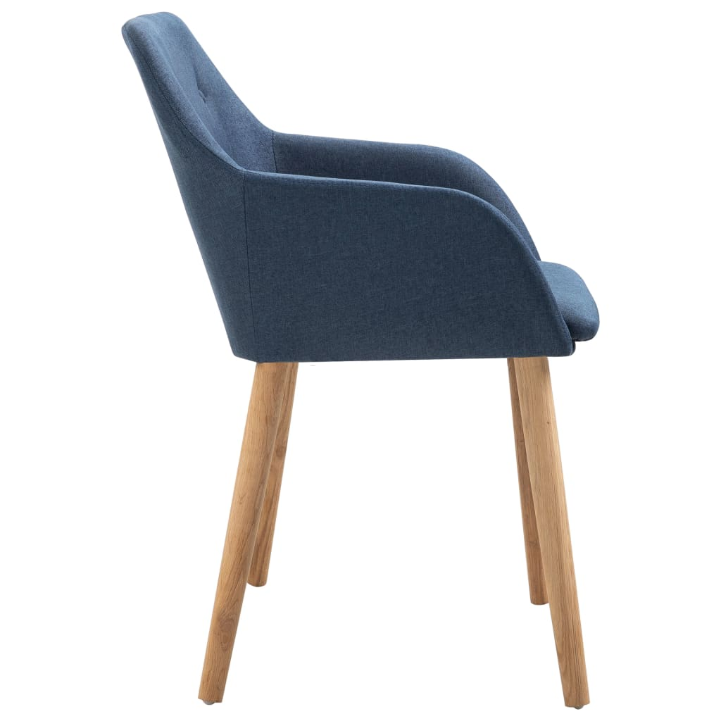 Dining Chairs 2 pcs Blue Fabric and Solid Oak Wood 4