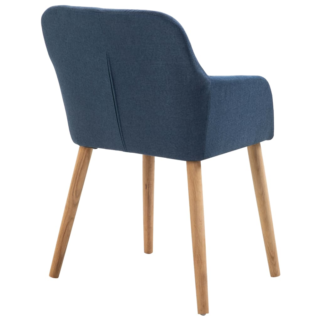 Dining Chairs 2 pcs Blue Fabric and Solid Oak Wood 5