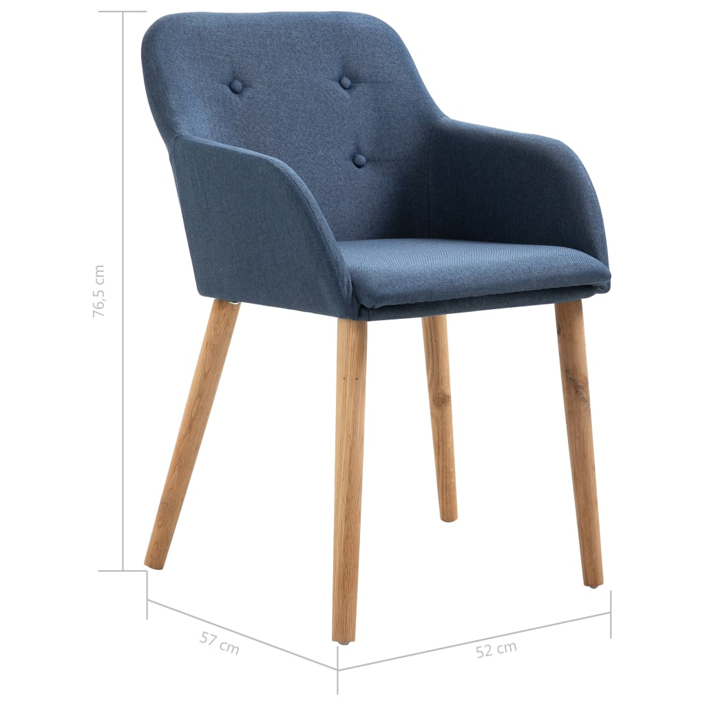 Dining Chairs 2 pcs Blue Fabric and Solid Oak Wood 8