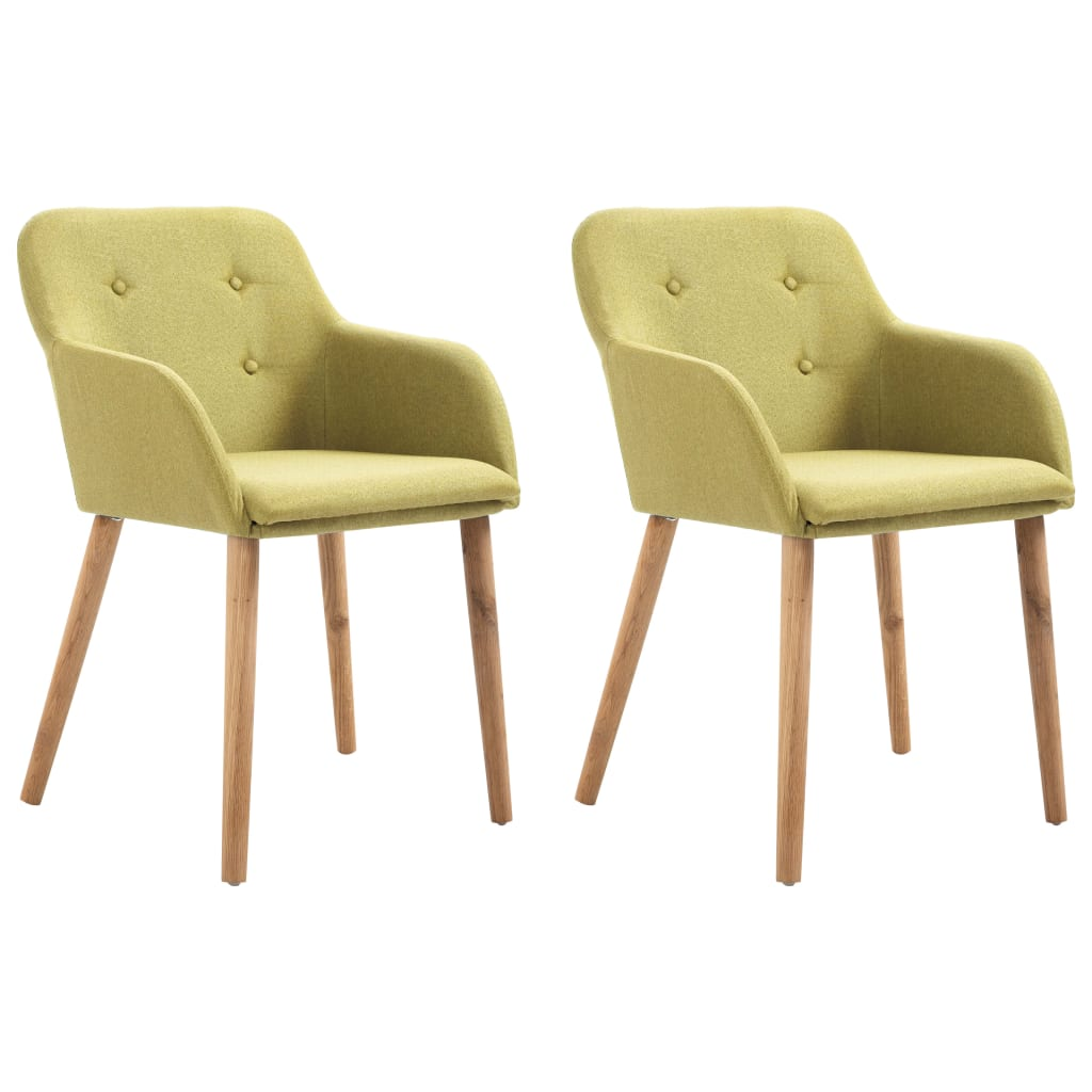 Dining Chairs 2 pcs Green Fabric and Solid Oak Wood 1