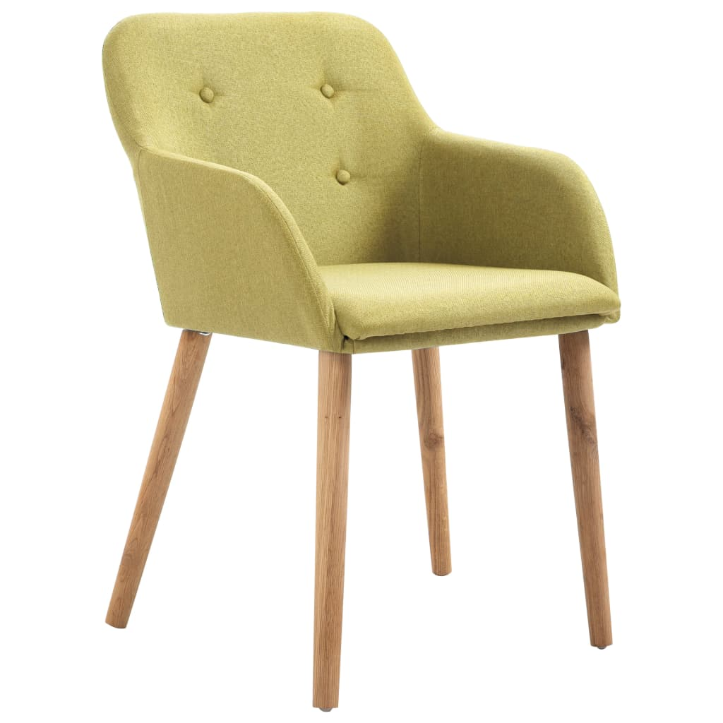 Dining Chairs 2 pcs Green Fabric and Solid Oak Wood 2