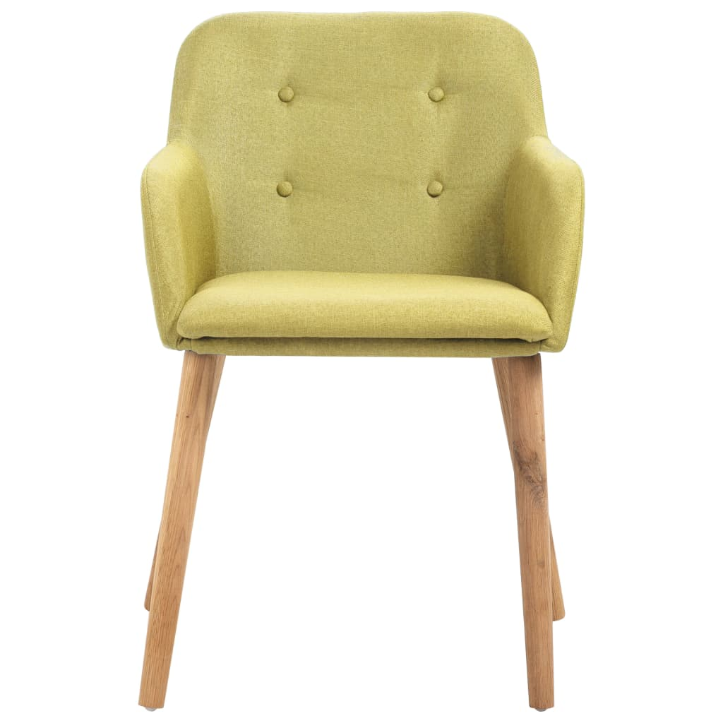 Dining Chairs 2 pcs Green Fabric and Solid Oak Wood 3