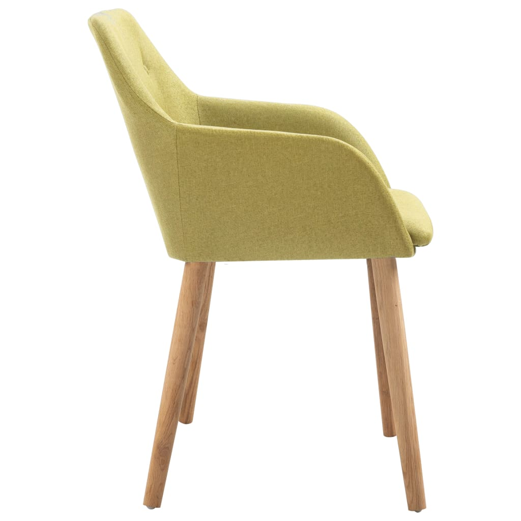 Dining Chairs 2 pcs Green Fabric and Solid Oak Wood 4