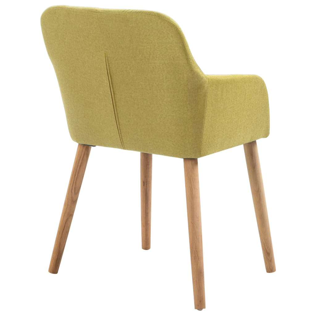 Dining Chairs 2 pcs Green Fabric and Solid Oak Wood 5