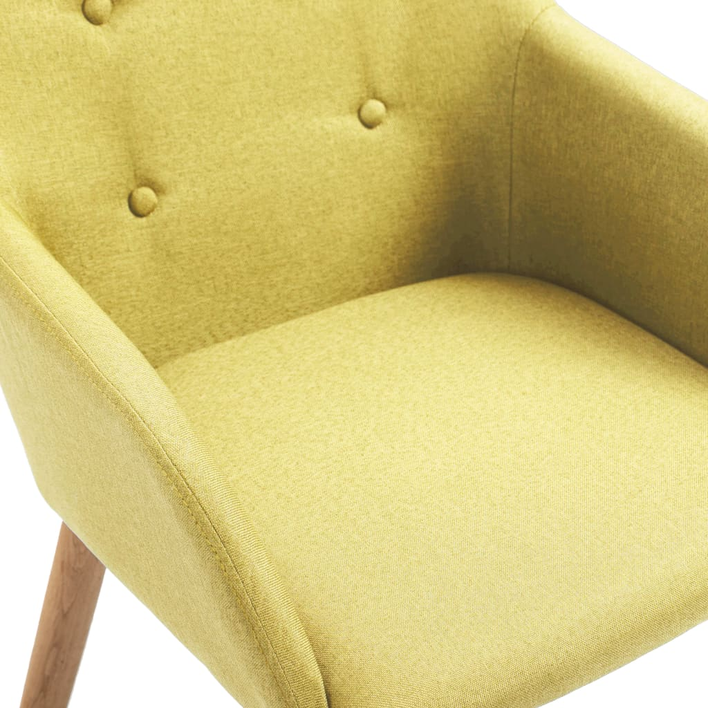 Dining Chairs 2 pcs Green Fabric and Solid Oak Wood 6