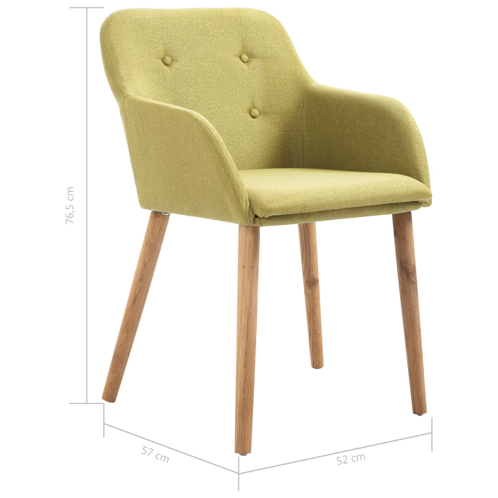 Dining Chairs 2 pcs Green Fabric and Solid Oak Wood 8