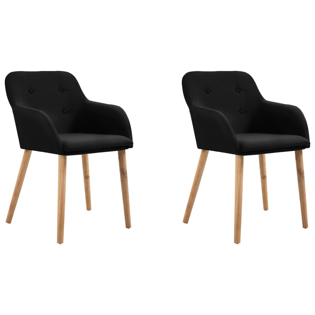 Dining Chairs 2 pcs Black Fabric and Solid Oak Wood