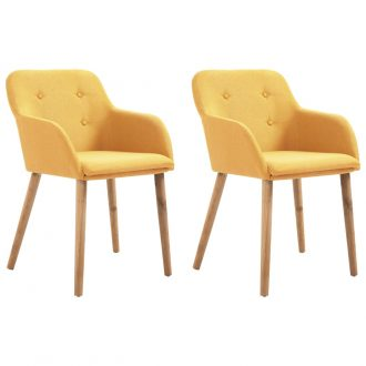 Dining Chairs 2 pcs Yellow Fabric and Solid Oak Wood 1