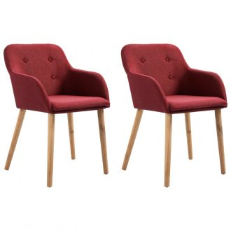 Dining Chairs 2 pcs Wine Red Fabric and Solid Oak Wood 1