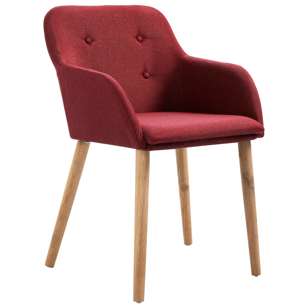 Dining Chairs 2 pcs Wine Red Fabric and Solid Oak Wood 2