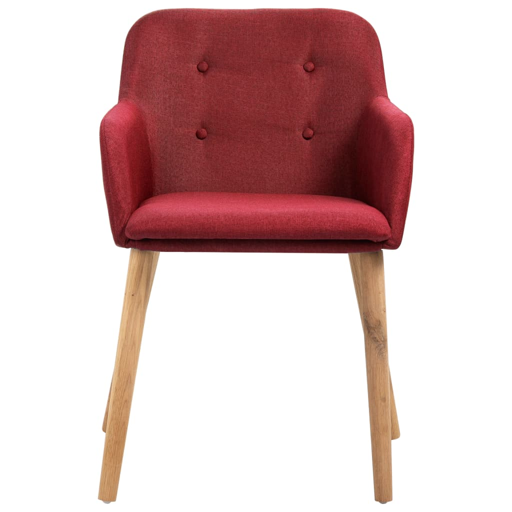 Dining Chairs 2 pcs Wine Red Fabric and Solid Oak Wood 3