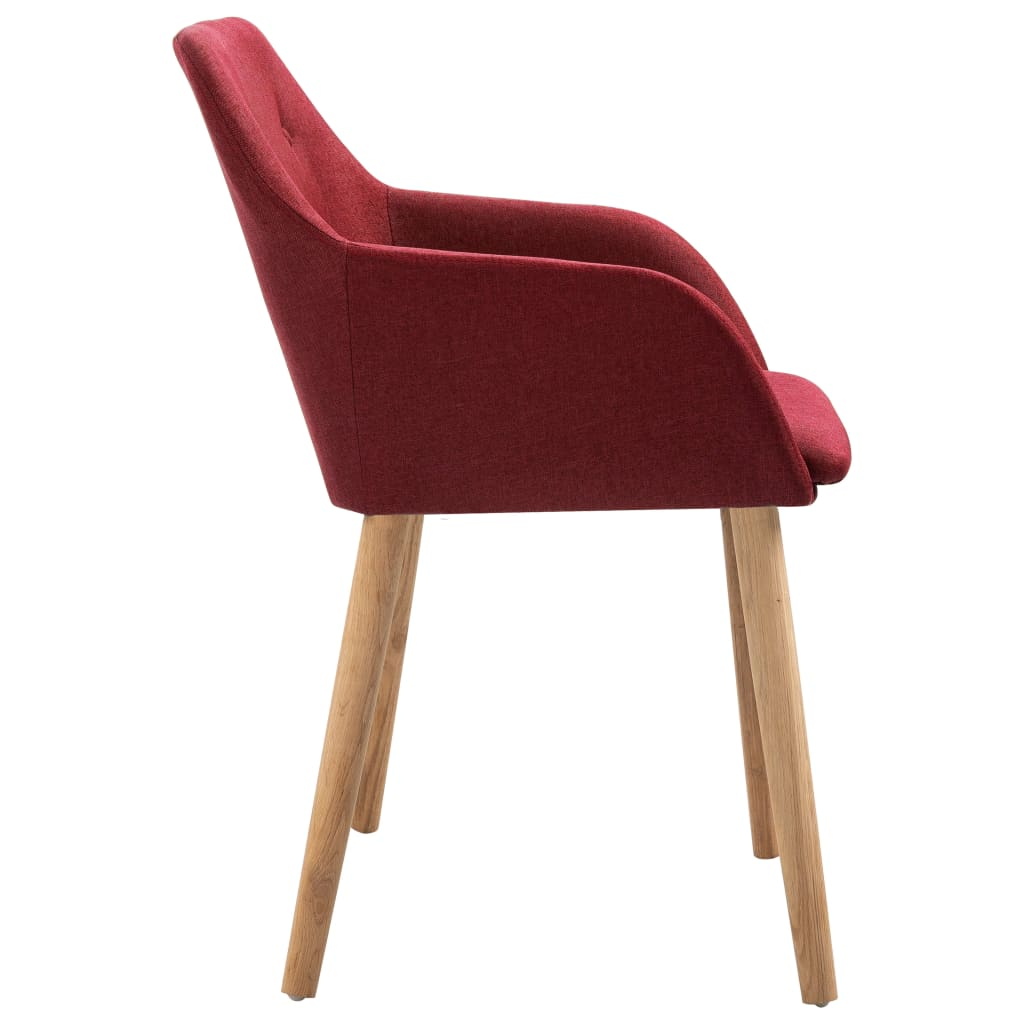 Dining Chairs 2 pcs Wine Red Fabric and Solid Oak Wood 4