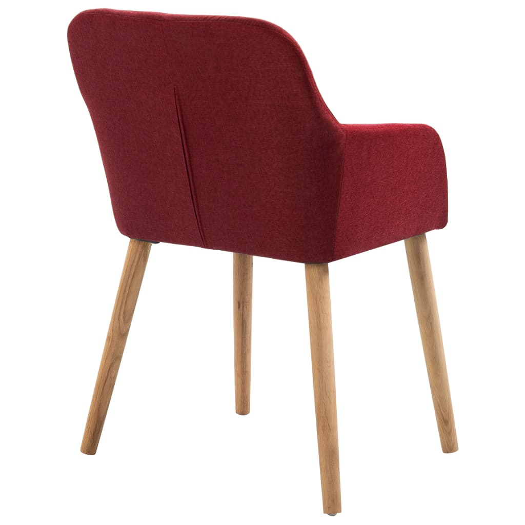 Dining Chairs 2 pcs Wine Red Fabric and Solid Oak Wood 5