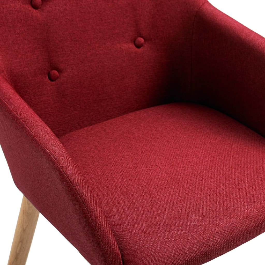 Dining Chairs 2 pcs Wine Red Fabric and Solid Oak Wood 6