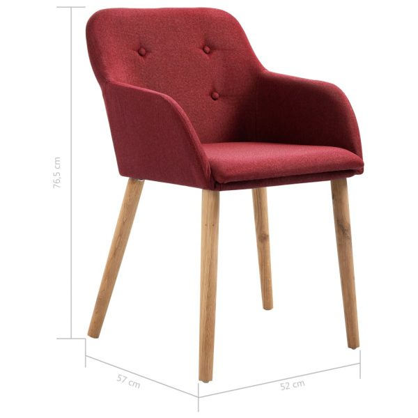 Dining Chairs 2 pcs Wine Red Fabric and Solid Oak Wood 8