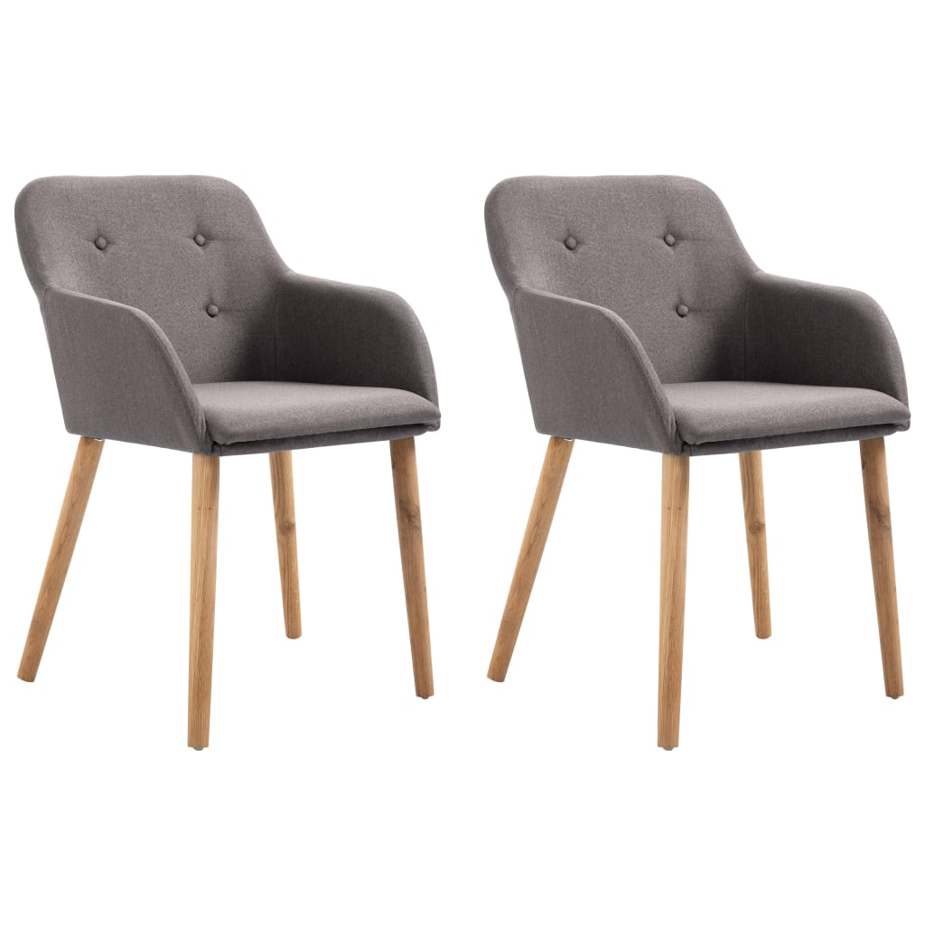 Dining Chairs 2 pcs Taupe Fabric and Solid Oak Wood