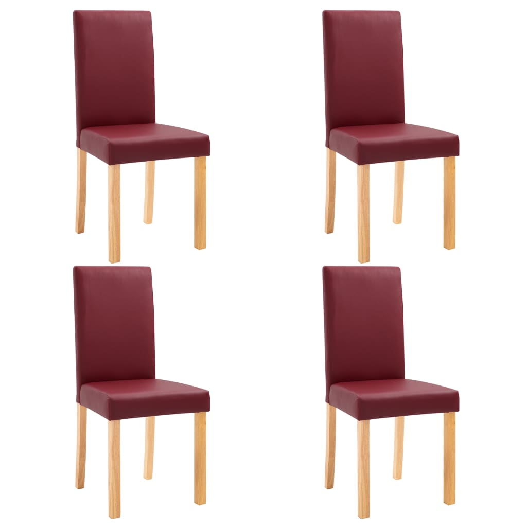 Dining Chairs 4 pcs Red Faux Leather 2