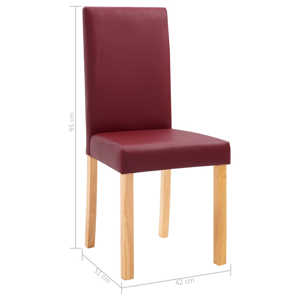 Dining Chairs 4 pcs Red Faux Leather 9