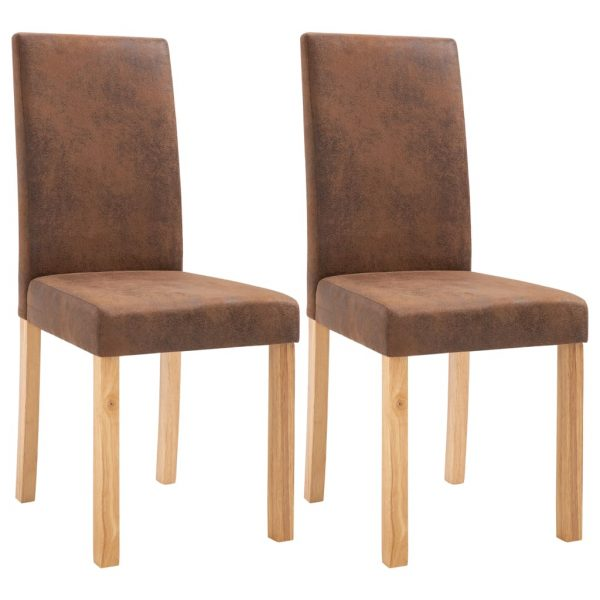 Dining Chairs 2 pcs Brown Faux Suede Leather 2