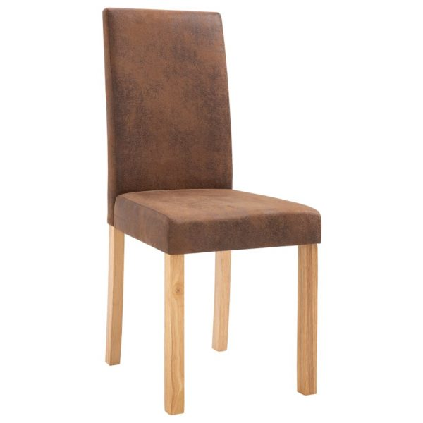 Dining Chairs 2 pcs Brown Faux Suede Leather 5