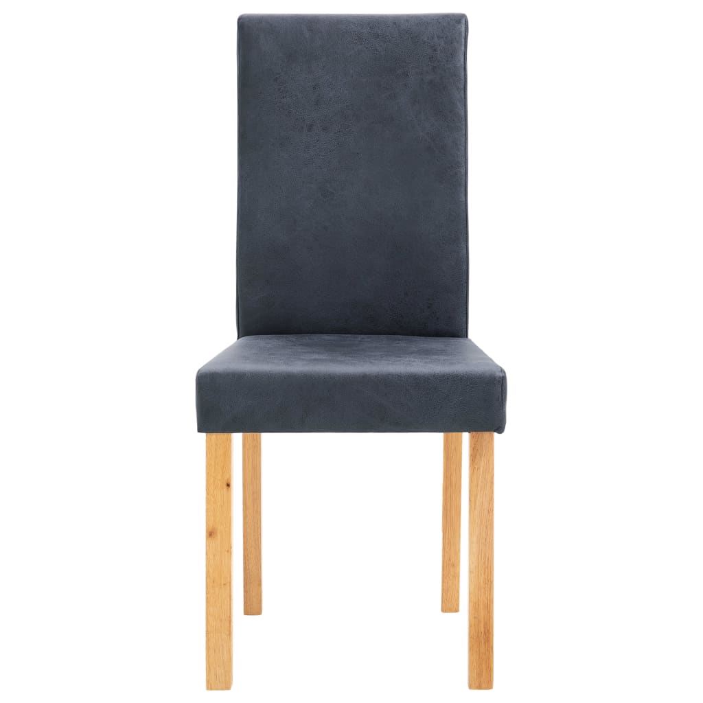 Dining Chairs 2 pcs Grey Faux Suede Leather 4