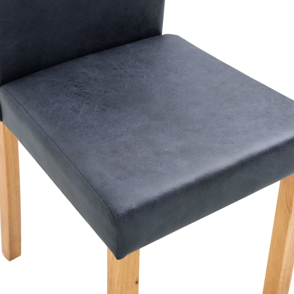 Dining Chairs 2 pcs Grey Faux Suede Leather 8