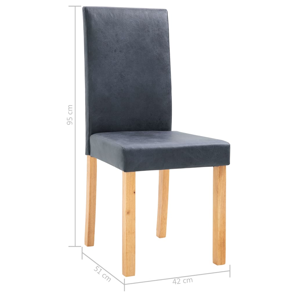 Dining Chairs 2 pcs Grey Faux Suede Leather 9