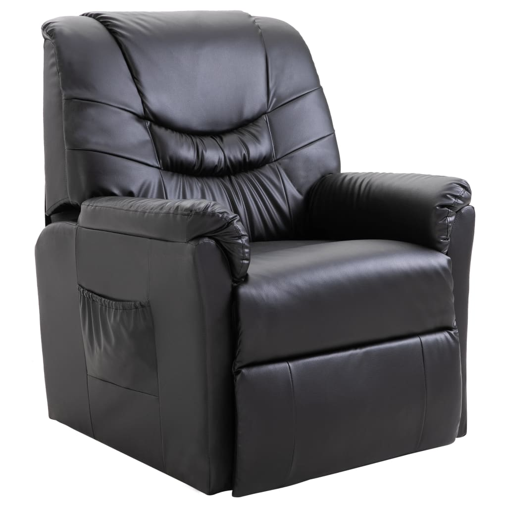Reclining Chair Black Faux Leather 1