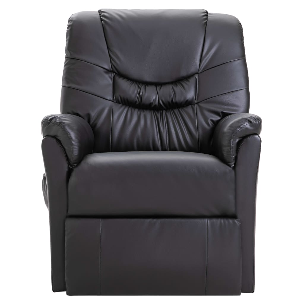 Reclining Chair Black Faux Leather 2
