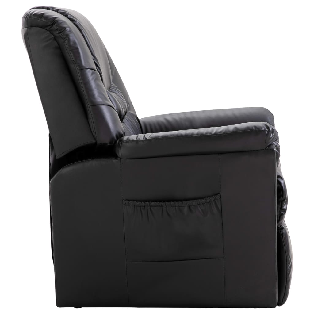 Reclining Chair Black Faux Leather 3