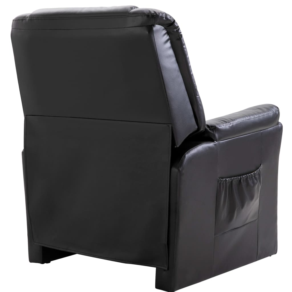 Reclining Chair Black Faux Leather 4