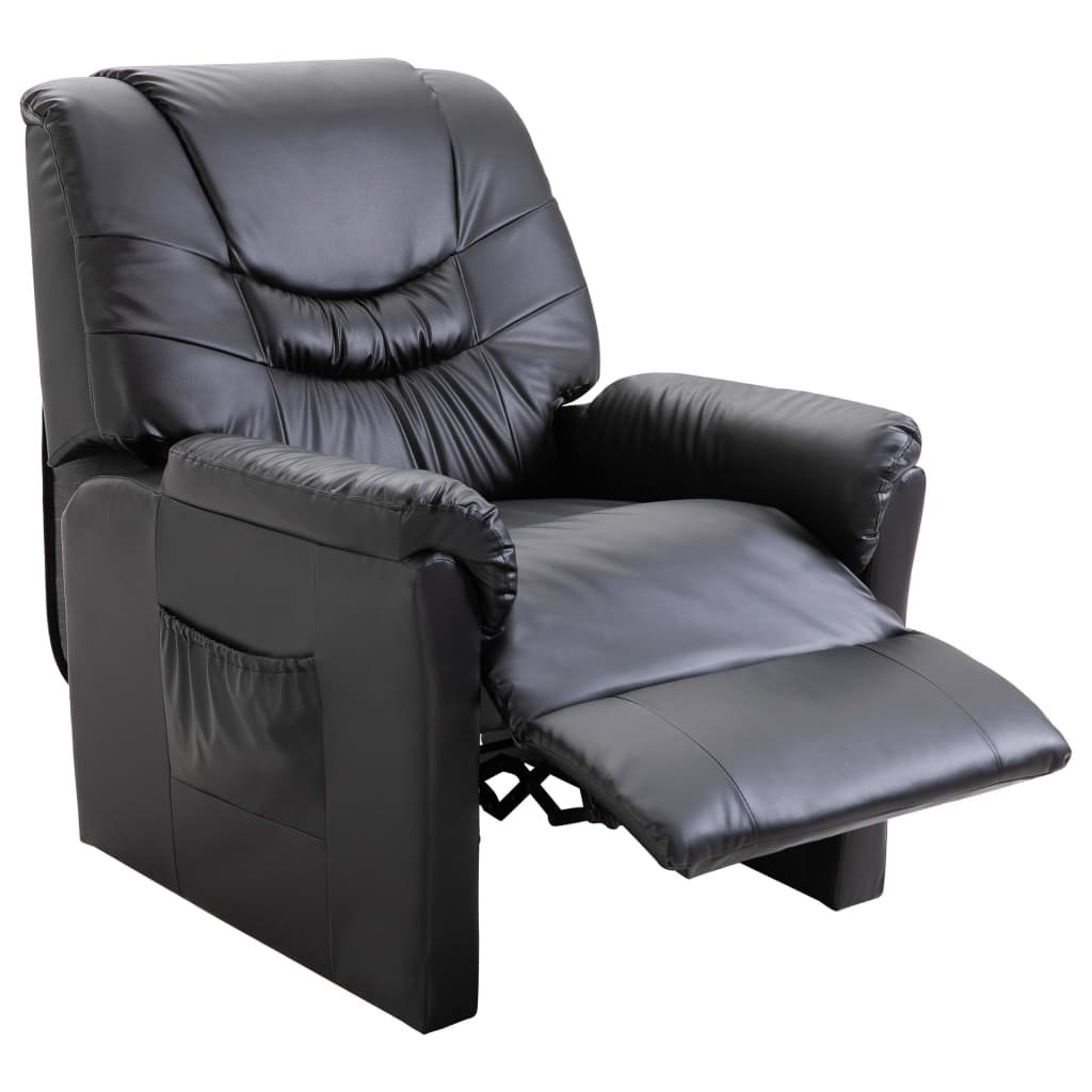 Reclining Chair Black Faux Leather 5
