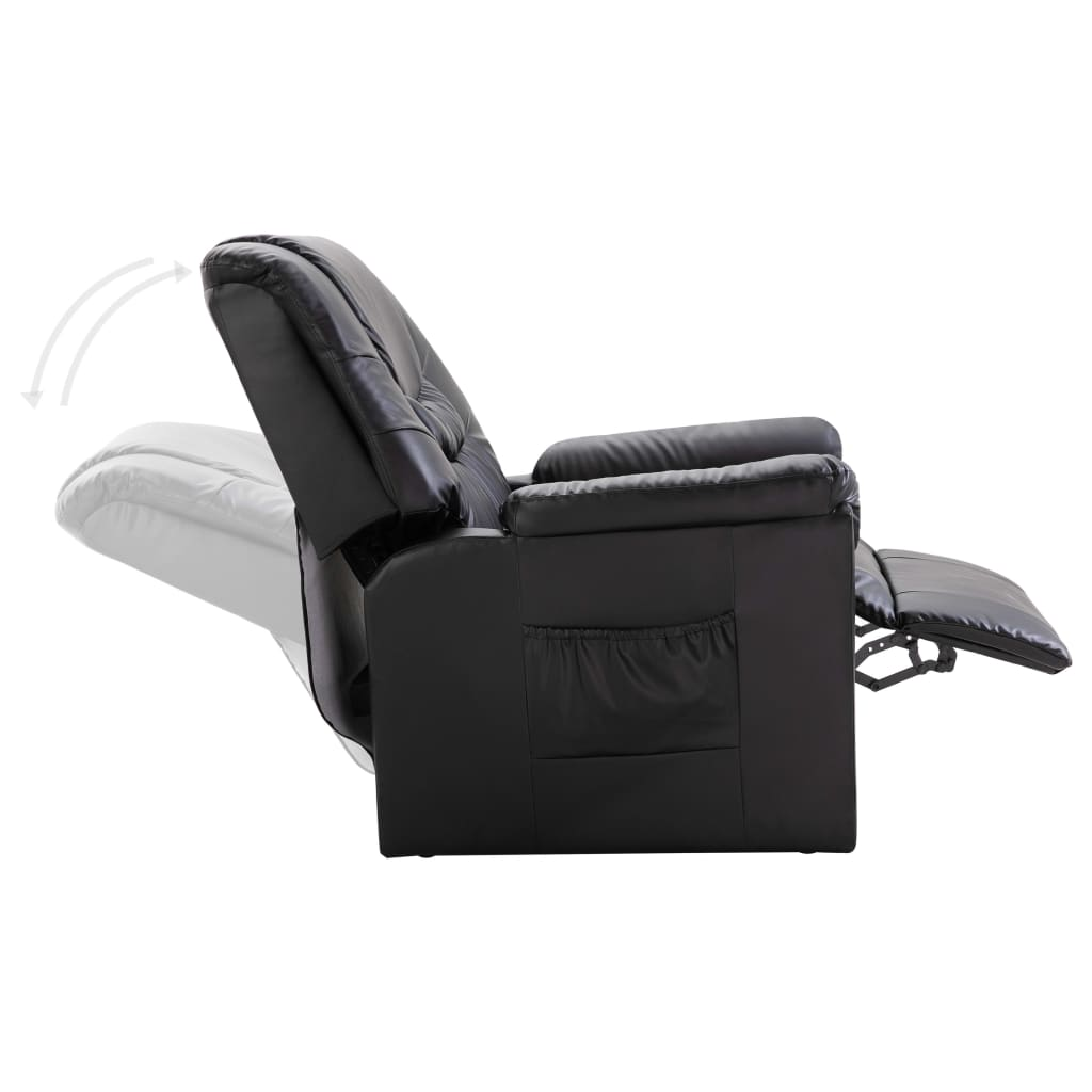 Reclining Chair Black Faux Leather 6