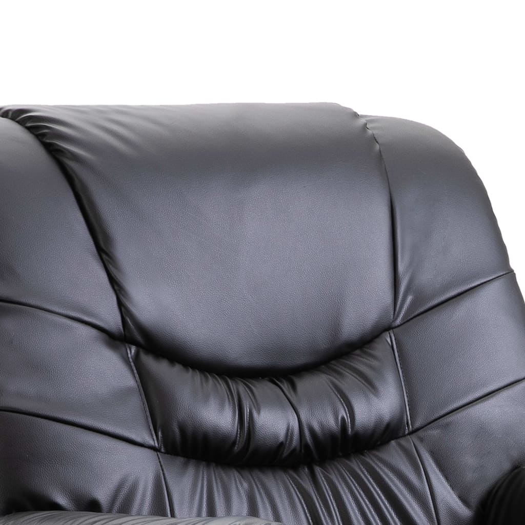 Reclining Chair Black Faux Leather 7