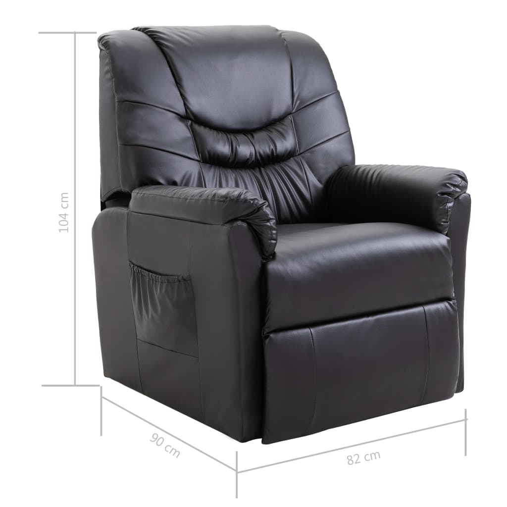 Reclining Chair Black Faux Leather 8