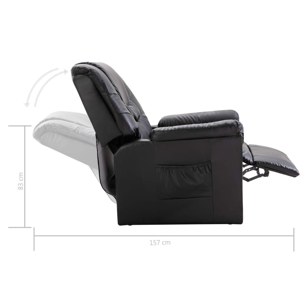 Reclining Chair Black Faux Leather 9