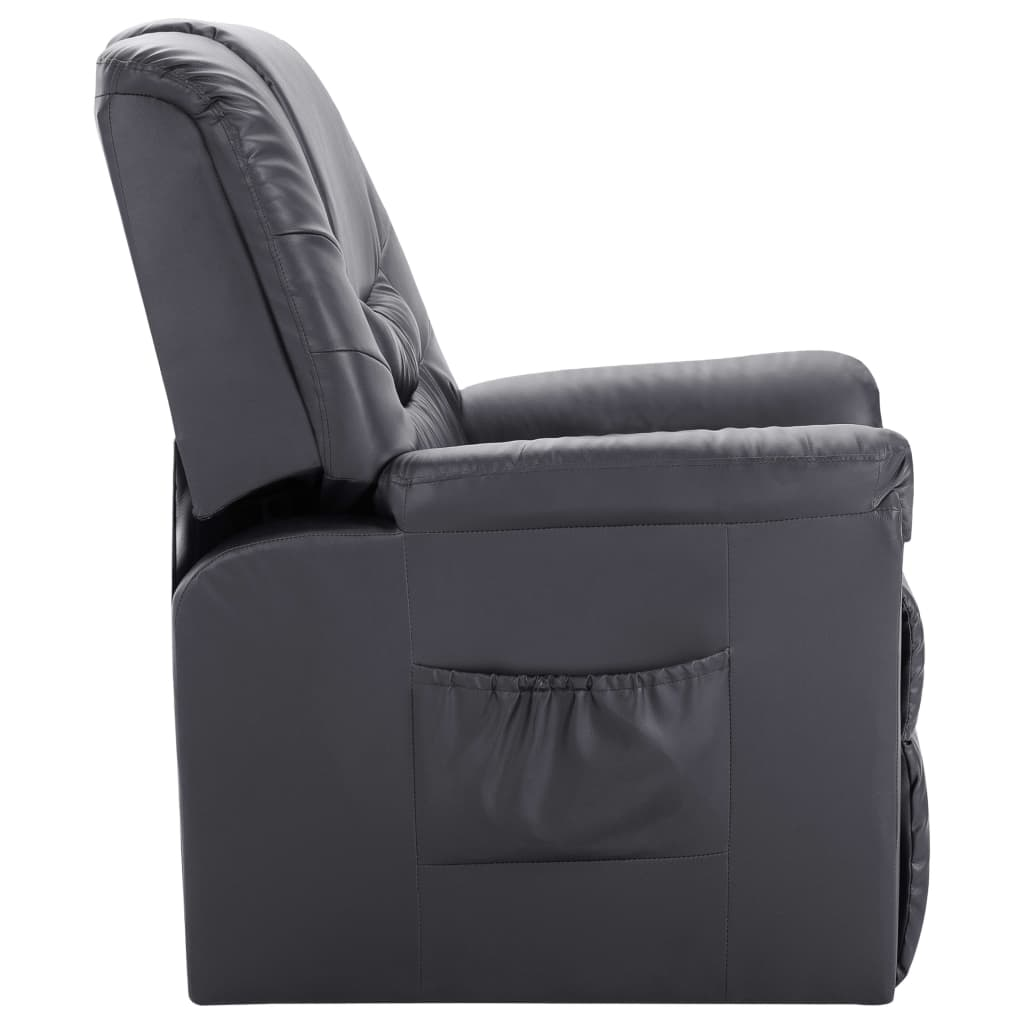 Reclining Chair Grey Faux Leather 3