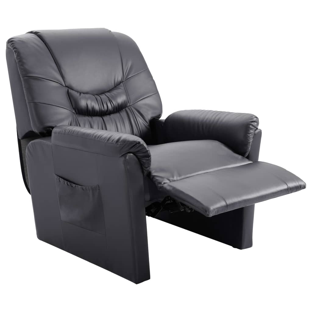Reclining Chair Grey Faux Leather 5