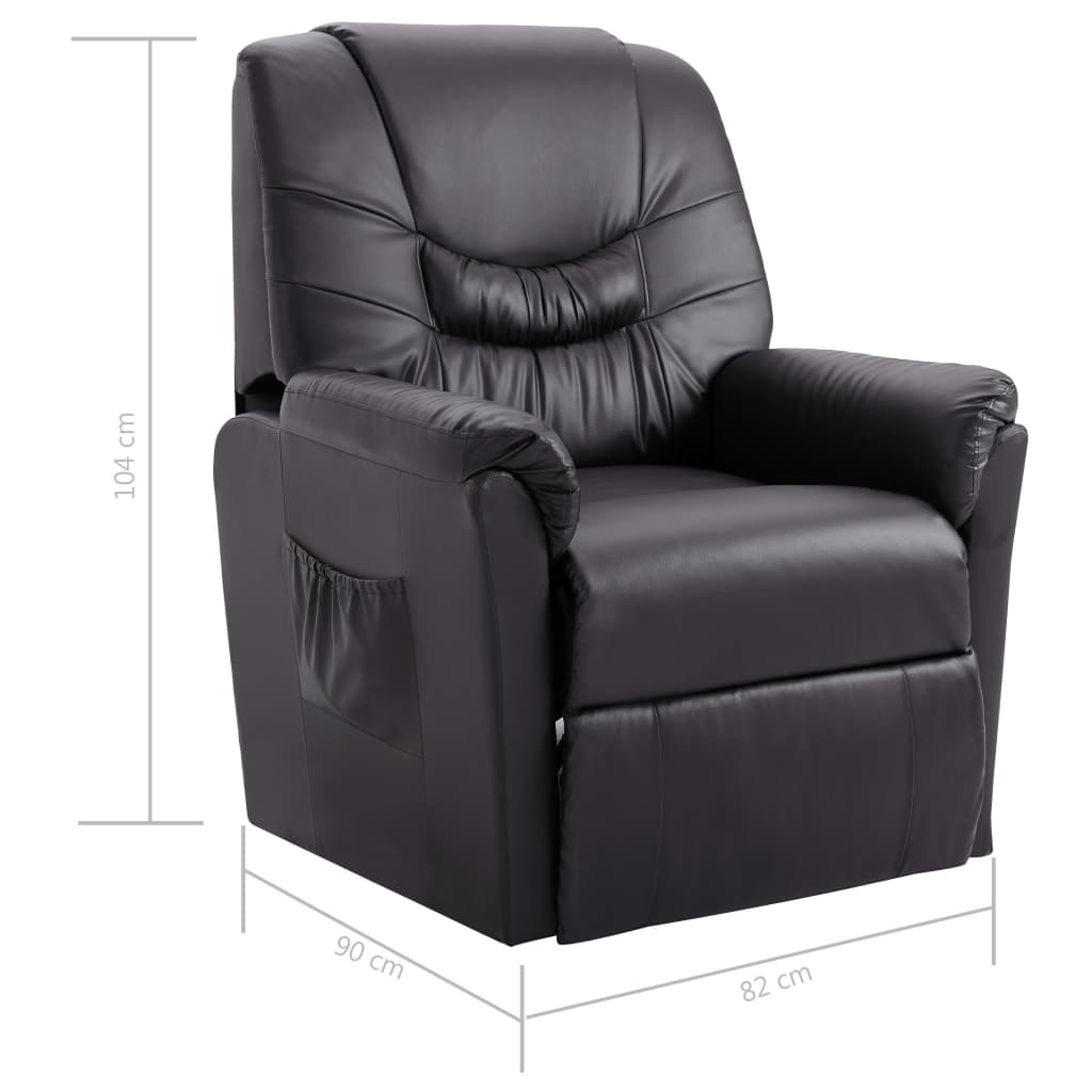 Reclining Chair Grey Faux Leather 8