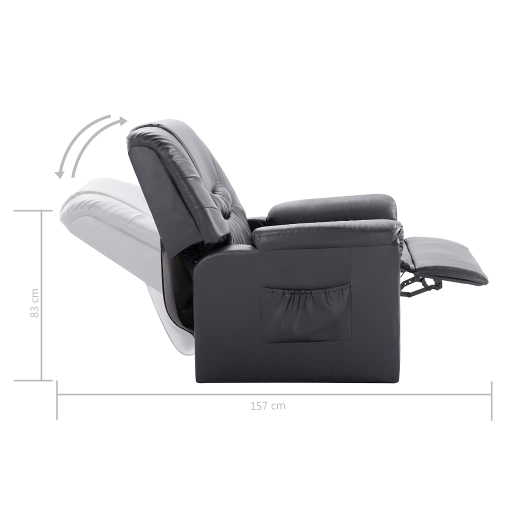 Reclining Chair Grey Faux Leather 9
