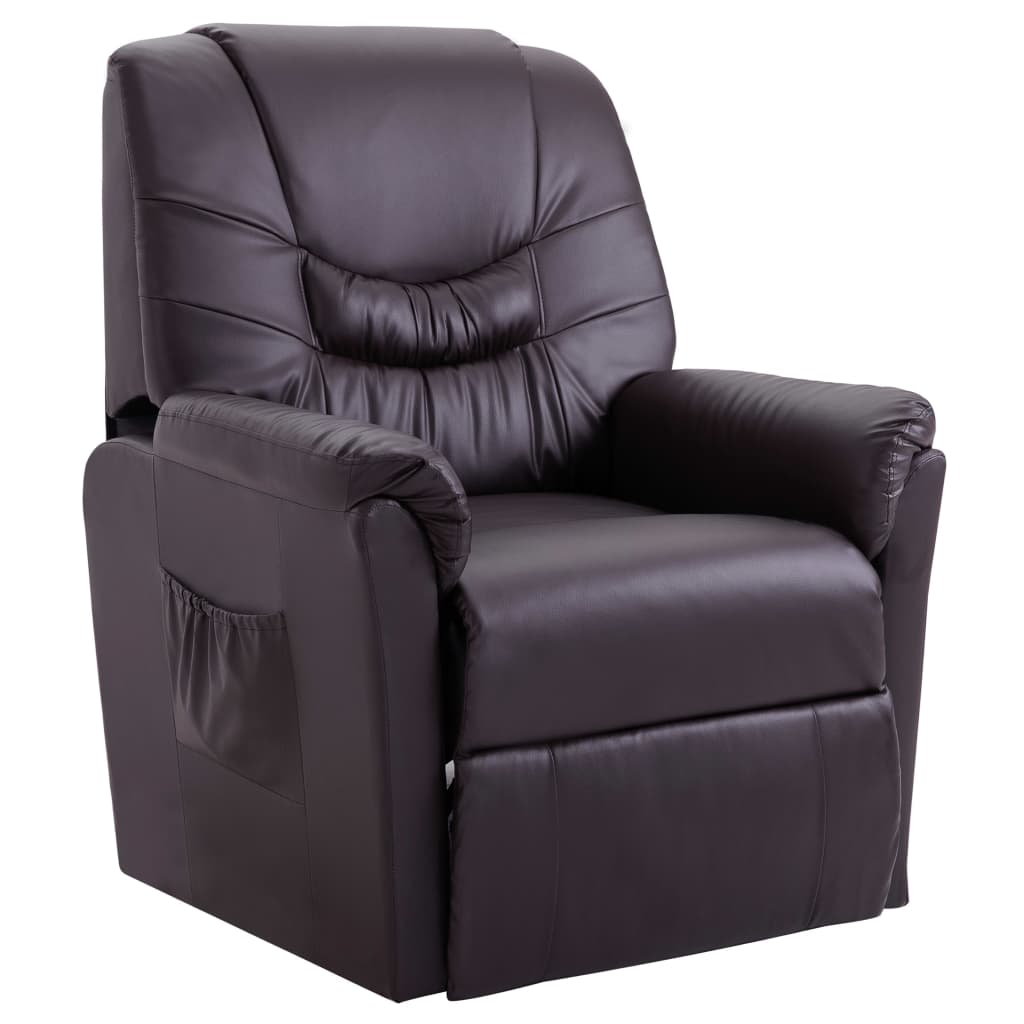 Reclining Chair Brown Faux Leather 1