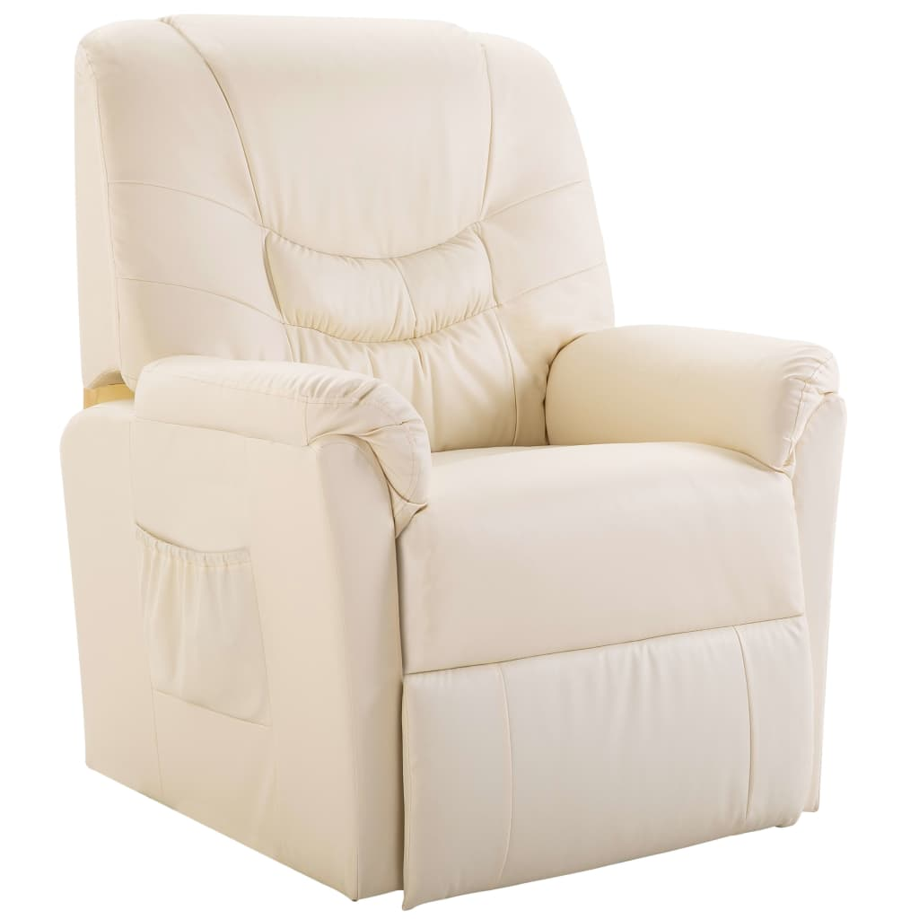 Reclining Chair Cream Faux Leather 1