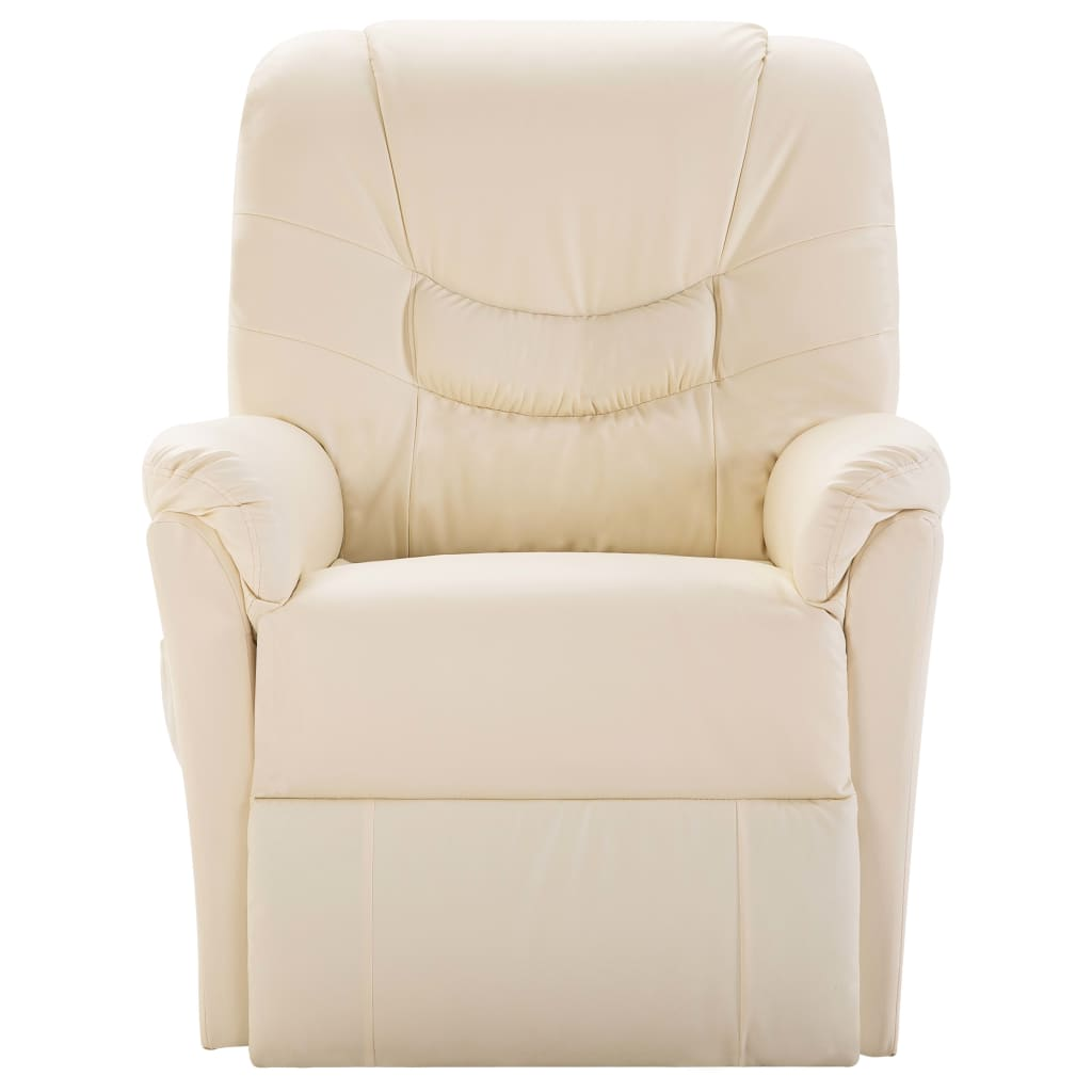 Reclining Chair Cream Faux Leather 2