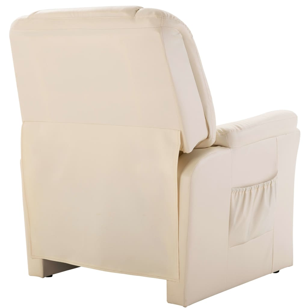 Reclining Chair Cream Faux Leather 4