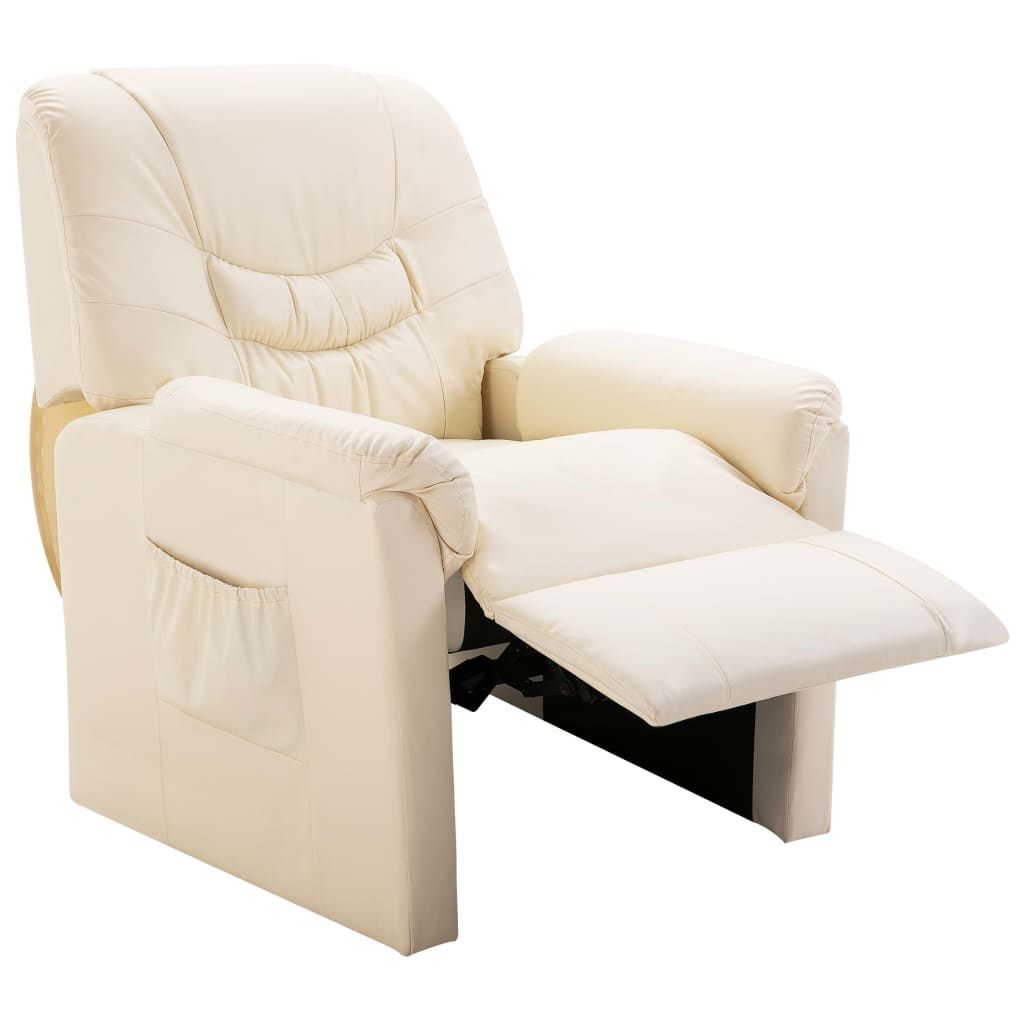 Reclining Chair Cream Faux Leather 5