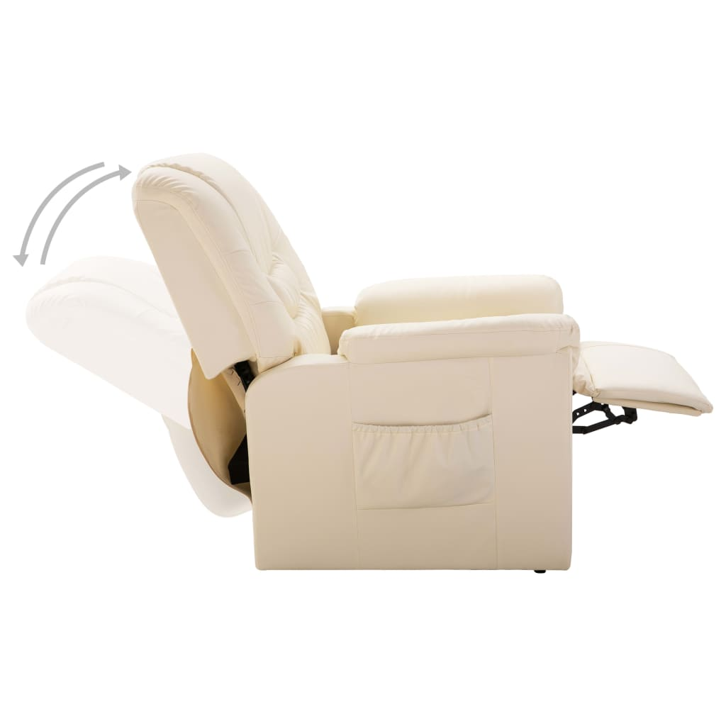 Reclining Chair Cream Faux Leather 6