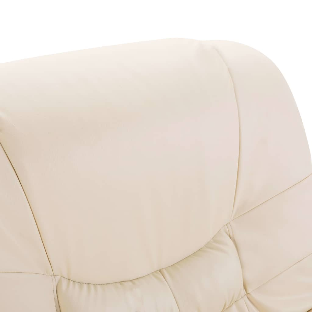 Reclining Chair Cream Faux Leather 7