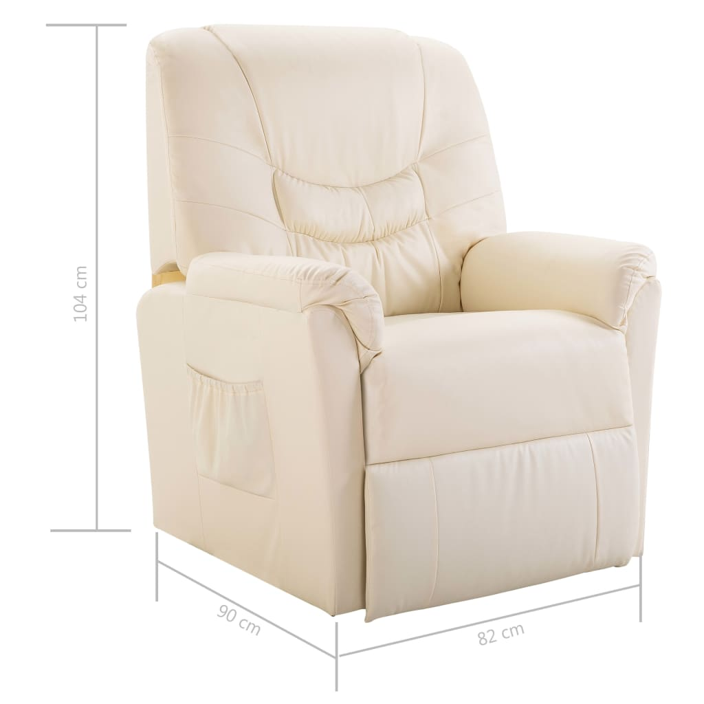 Reclining Chair Cream Faux Leather 8